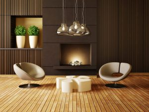 modern living room with round chairs
